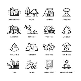 Natuurrampen ongevallen lijn pictogrammen en schade symbolen