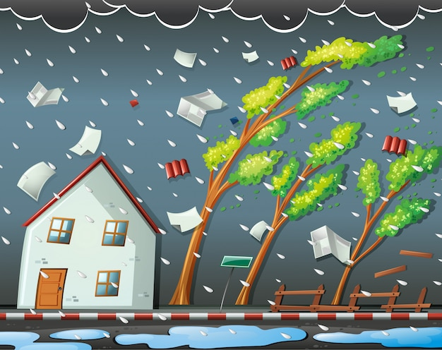 Natuurrampscène met orkaan