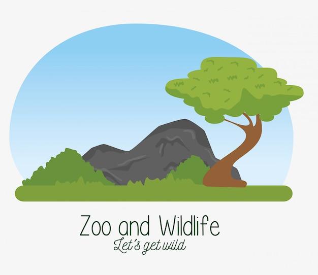 Natuurreservaat dieren in het wild met boom en struiken