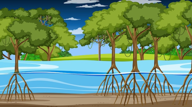 Natuurscène met mangrovebos 's nachts in cartoonstijl