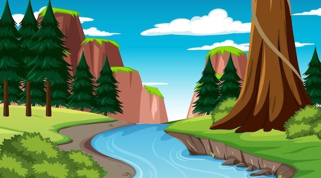 Natuurscène met stroom die door het bos stroomt