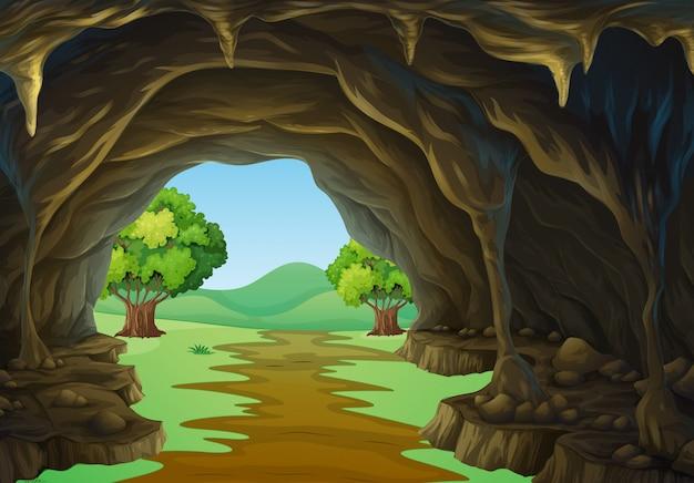 Natuurscène van grot en spoor