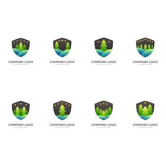 Natuurschild, schild en dennen, combinatielogo met 3d-kleurrijke stijl