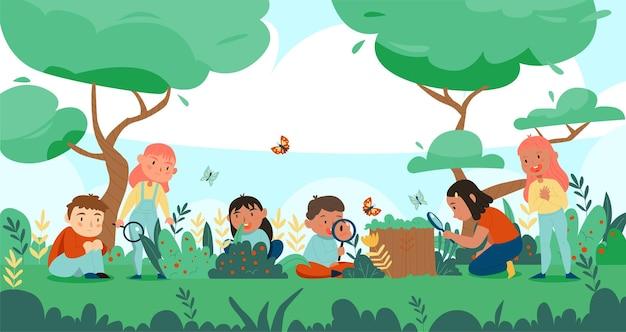 Natuurstudie bossamenstelling met buitenlandschap en groep kinderen menselijke karakters die wilde natuurillustratie ontdekken