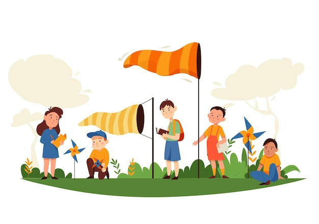 Natuurstudiecompositie met buitenlandschap en stripfiguren van kinderen met gratis zwevende windvaanillustratie