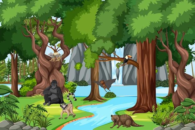 Natuurtafereel met beek die door het bos stroomt met wilde dieren