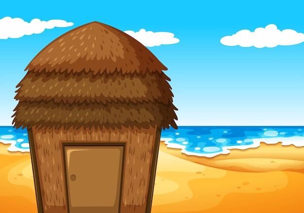 Natuurtafereel met bungalow op het strand