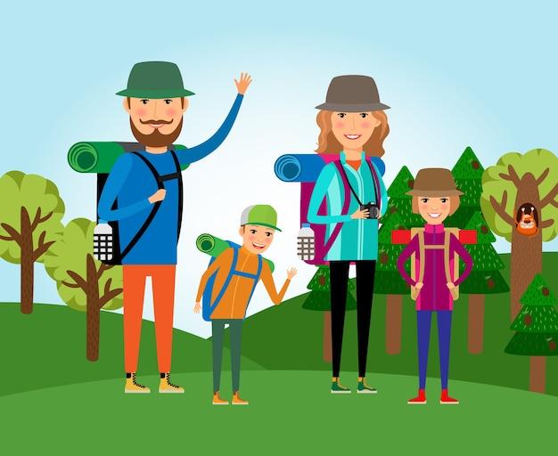 Natuurtoerisme. familie bij de bosillustratie. levensstijl en mensen, reis buitenshuis, moeder en dochter, vader en zoon