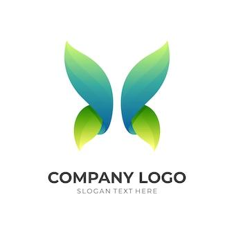 Natuurvlinderlogo-ontwerp met 3d-groene en blauwe kleurstijl