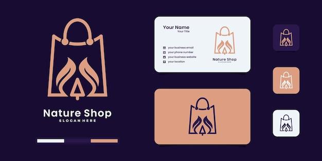 Natuurwinkel, tas gecombineerd met blad lijn kunst stijl logo ontwerpen sjabloon.