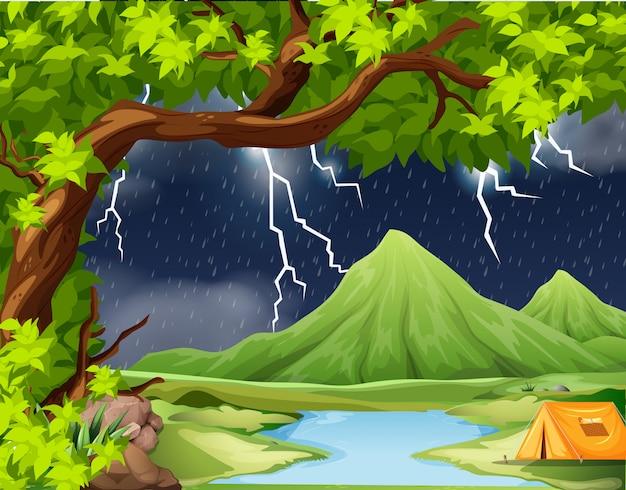 Naure storm kamperen scène