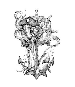 Nautisch anker met touw hand getrokken schets vectorillustratie