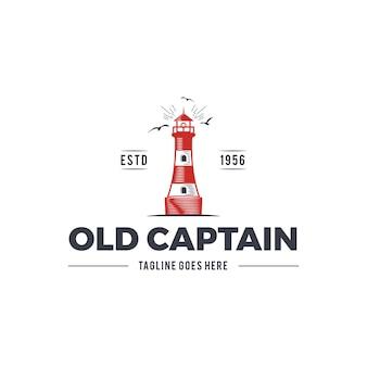 Nautisch logo-ontwerp met vuurtoren en tekst - oude kapitein