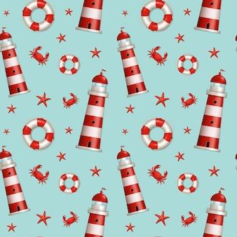 Nautisch naadloos patroon in blauwe, rode en witte kleuren