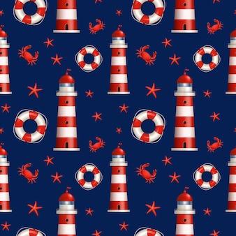 Nautisch naadloos patroon in donkerblauwe, rode en witte kleuren.