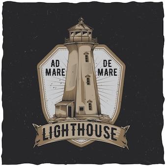 Nautisch t-shirt labelontwerp met illustratie van de oude vuurtoren. hand getekende illustratie.