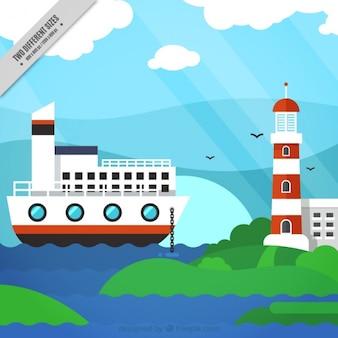 Nautische achtergrond met een boot en een vuurtoren