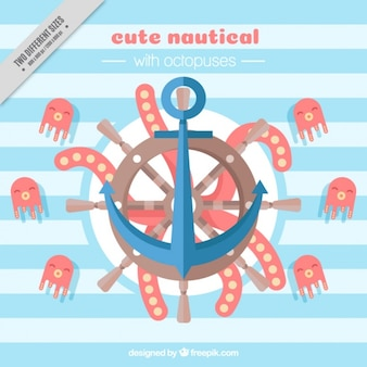 Nautische achtergrond met octopussen en anker