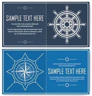 Nautische achtergronden met kompasroos en stuurwiel. set blauwe nautische flyers met kopieerruimte. vector illustratie.