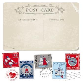 Nautische ansichtkaart en postzegels voor bruiloft