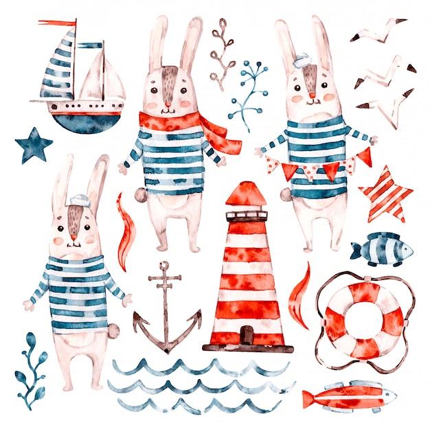 Nautische aquarel baby konijn matroos, dierlijk beeldverhaal kwekerij zeeman set. leuke kinderachtige karakterverzameling