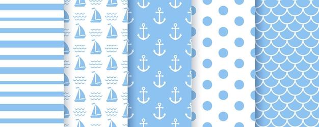 Nautische babydouche naadloze patronen. mariene zee patroon. stel blauwe geometrische prints in