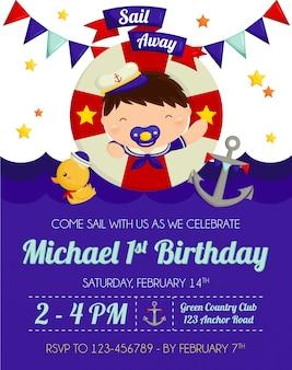Nautische babyjongen verjaardagsuitnodiging