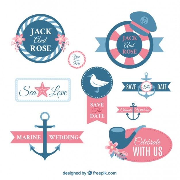 Nautische bruiloft labels ontwerpen