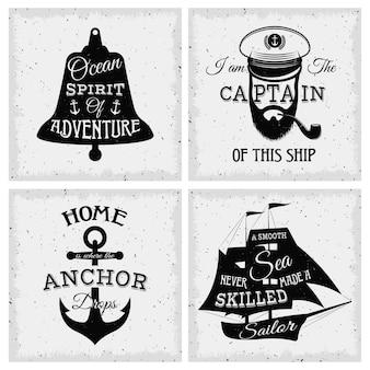 Nautische citaten composities met inscripties op bel zeilboot anker kapitein gezicht