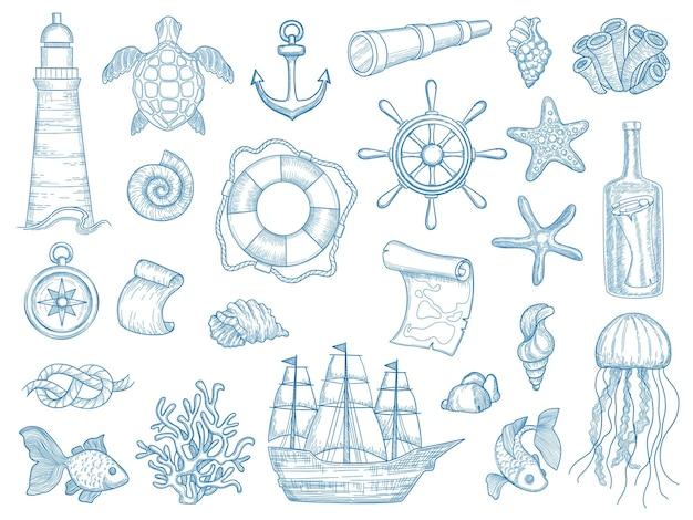 Nautische collectie. zeilboten handgetekende mariene set vissen vaartuig set. scheepsmarine, zeeschip, de vuurtoren van de inzamelingselementen, ankerillustratie