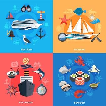 Nautische conceptpictogrammen die met vlakke geïsoleerde vectorillustratie van zeevruchten en zeehavensymbolen worden geplaatst