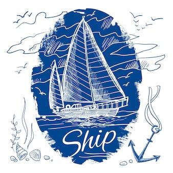 Nautische embleem met blauwe gekleurde schets varende schoener schip en zee achtergrond vector illustratie