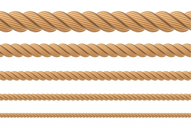 Nautische gedraaide touwknopen, lussen.