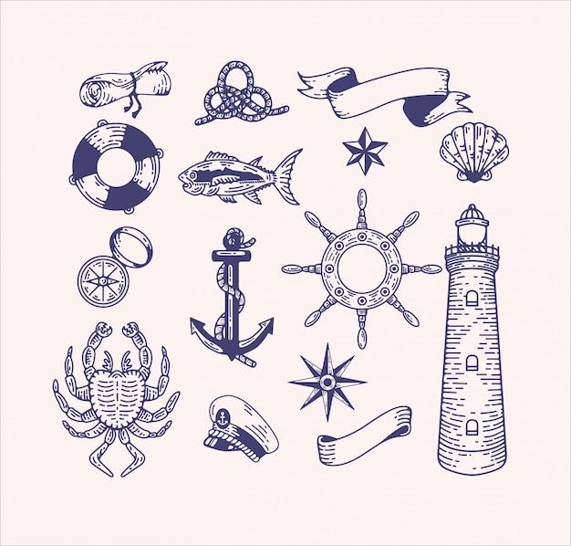 Nautische illustratie illustraties instellen. gegraveerde vintage zee-elementen voor logo-ontwerp en branding. kapitein, zeereis, zeedieren, strand, scheepsuitrusting