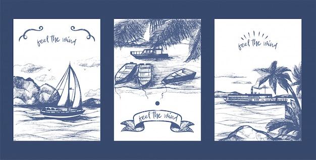 Nautische jacht, zeilboten en schip schets vector kaartenset. jachtschip hand getrokken. zee- en nautische zeilregatta.