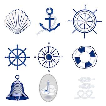 Nautische logo's sjablonen