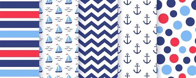 Nautische, mariene naadloze patroon. illustratie. zee achtergronden.