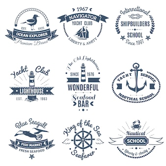 Nautische marine etiketten en logo's instellen