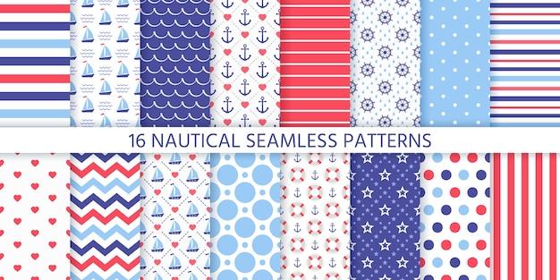 Nautische naadloze patroon. mariene geometrische texturen