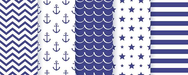 Nautische naadloze patroon. marine set blauwe zee zomerprints. geometrische textuur.