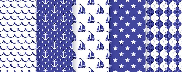 Nautische naadloze patroon. vector. zee achtergronden. stel mariene zomertexturen in