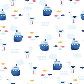 Nautische naadloze vector patroon met schip. heldere cartoon afbeelding voor kinder wenskaart ontwerp, stof en behang.