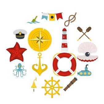 Nautische pictogrammen instellen in vlakke stijl