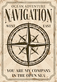 Nautische poster in vintage stijl met kompasillustratie