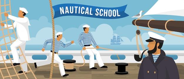 Nautische school zeilboot platte banner