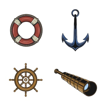 Nautische spullen en zee-symbool