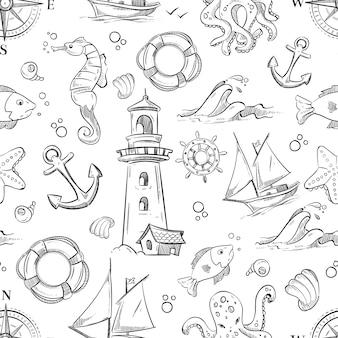 Nautische vector doodle naadloze patroon