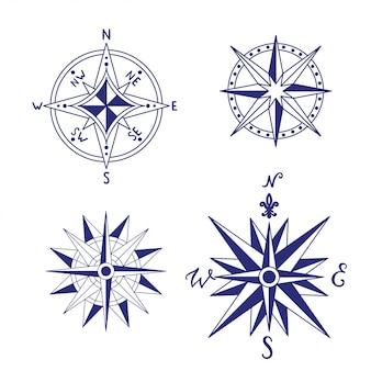 Nautische vintage kompas set