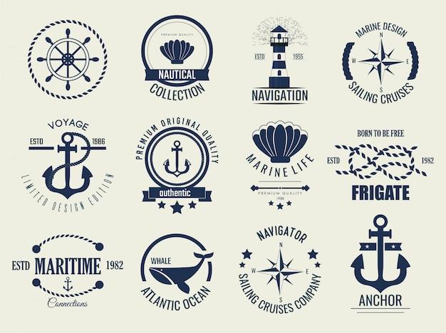 Nautische vintage labels en pictogrammen.