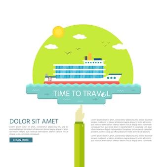 Nautische voertuigen: zeilboot, schip. sitesjabloon. vector pictogram geïsoleerd op groene achtergrond. Premium Vector